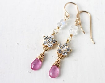 Pink Sapphire Earrings in 14k Gold, Delicate Dangle Earrings with Flower Cubic Zirconia Connector, September Birthstone