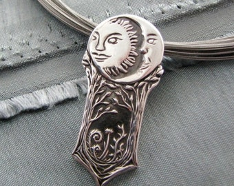 Serenity, Sun and Moon Pendant, Personalized, Fine Silver, Handmade in Recycled Silver, Original and Exclusive by SilverWishes