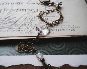 Vintage Style Crystal Bracelet, Romantic Bead and Chain Bracelet, Boho, Wedding, Bridesmaid Bracelet