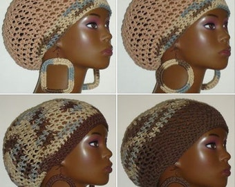100% Cotton Camouflage Crochet Berets Tams with Earrings by Razonda Lee Razondalee Ready to Ship