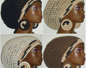 100% Cotton Cookies n Cream Trimmed Large Crochet Tam Cap Hat and Earrings with Drawstrings Black Natural Ivory Brown