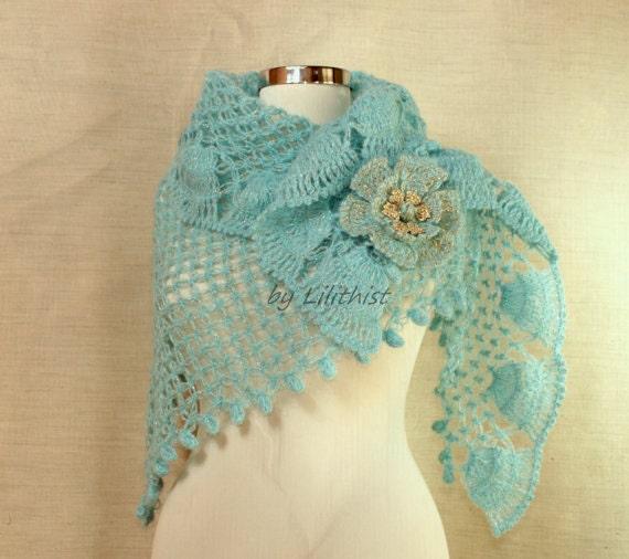 Coral Blue Crochet Shawl, Wedding Shawl, Bridal Shrug Shawl Bolero, Triangle Shawl, Cover Up, Aquamarine Glitter Gold Bridal Accessories