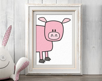 Nursery Decor, Pig Nursery Wall Art, Chicken Print, Printable Art, Animal Art Print, Farm Art, Barnyard Art, Animal Decor