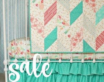 SALE Herringbone quilt, Reminisce baby quilt, mint & coral baby blanket , toddler blanket, crib blanket, chevron quilt, modern nursery decor