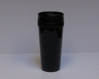 travel mug, 14 oz, insulated stainless steel in black, FREE custom engraving