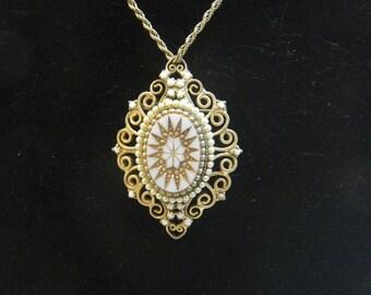 Starburst Pendant White Glass Cabochon Pendant or Brooch Retro 1970s Costume Jewelry Juliana D&E ?