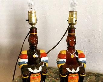 Two Vintage 70s Tiki Bar Rum Bottle Lamps