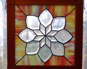 Framed Bevelled Stained Glass Panel