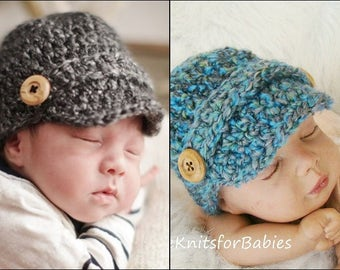 Crochet Newsboy Cap, Newborn Newsboy Cap, Baby Newsboy Hat, Baby Boy Hat, Baby Photo Prop, Any Color