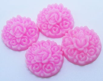 4PCS Rosebud Flower Cabochons, Pink Flower Cabs, 17mm Matte Resin, Jewelry Supplies, Diy Supplies, Zardenia