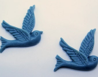 2PCS Slate Resin Bird Cabochons 26x28mm  Jewelry Findings by ZARDENIA