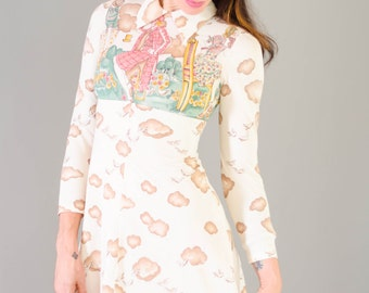 Vintage 1970's Micro Mini Novelty Print Dress