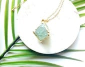 Raw crystal  necklace-24k gold plated crystal pendant- healing  crystal necklace-green flourite