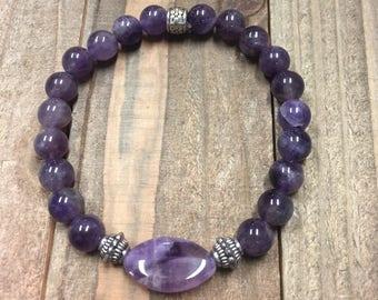 Amethyst bracelet, February bracelet, February birthstone, Amethyst jewelry, crown chakra, healing stone bracelet, purple bracelet,