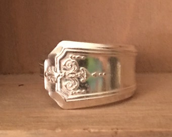 Vintage silver plated Spoon ring size 8 3/4