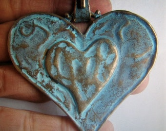Heart shaped Jewelry finding, Verdigris heart pendant,hammered heart pendant