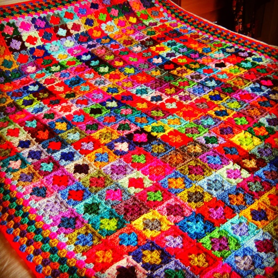"Mini Granny Squares BLANKET Afghan In Stock 70"" x 60""  Crochet 320 squares"