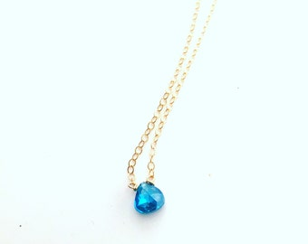 Tiny blue necklace, Tiny blue briolette necklace, Little blue glass necklace