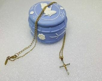 Avon Two Tone Baguette Cross in Keepsake Box   Necklace  Mint Condition  Original box Crucifix