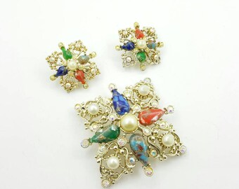 Sarah Coventry Galaxy Brooch and Clip earrings 1962 Bold Plus Size