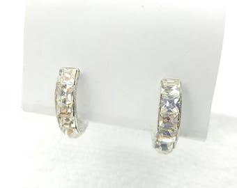 Ora Signed Clear Crystal  Silver Tone Huggy Hoops clip  earrings Square cut