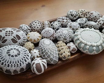 Stones Beach Wedding Decor Beach Stones Decorative Crochet Cover Beach Wedding Decorations