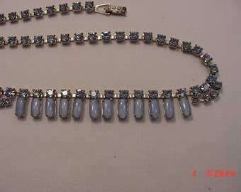Vintage Blue Rhinestone Necklace    17 - 53