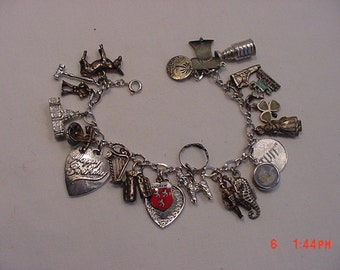 Vintage Sterling Silver Charm Bracelet With 23 Charms  17 - 77