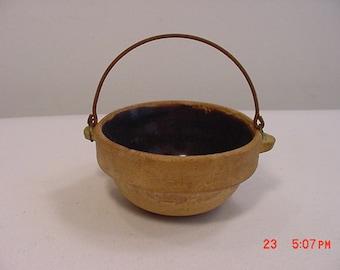 Stoneware Pottery Miniature Baking Crock  Brown Glaze  17 - 365