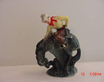 Vintage Western Rodeo Cowboy Bronco Rider Ceramic Figurine  17 - 583