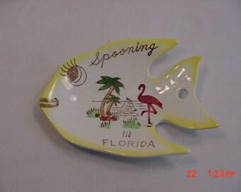 Vintage Ceramic Florida angel Fish Spoon Holder 17 - 699