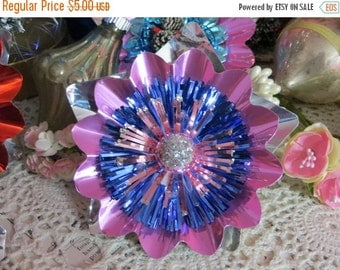 ON SALE Vintage Christmas Foil Flower Corsage Picks-Mercury Glass-Package Ties-Tinsel-Old Stock-Handmade with Vintage Supplies