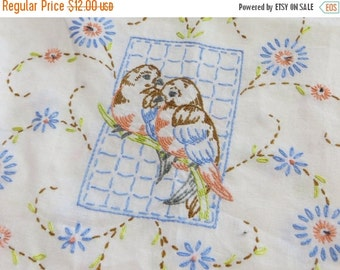 ON SALE Vintage Hand Embroidered Runner with Blue Birds-Sparrow-Finch
