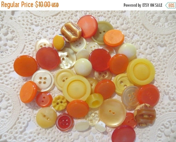 ON SALE Vintage Orange and Yellow Buttons-Lot-Craft-Sewing