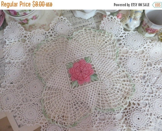 ON SALE Vintage Crocheted Doilie-Pink Rose-Square-8 inch