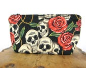 Zipper Pouch - Purse Insert - Small Pouch Bag - Zippered Pouch - Cosmetic Bag - Skull Bag - Make Up Bag - Skull Pouch - Makeup Pouch
