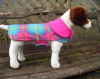 Dog Coat - Turquoise and Fuchsia  Plaid- Small 12-14 Inch Back Length- One Only