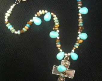 Turquoise and Earth Beaded Necklace with Copper and Siver Metal Beads, Beaded Neclace with Cross Pendant