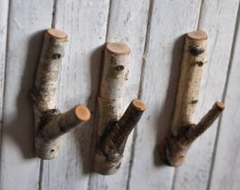 tree branch hooks  • White Birch wood hooks  •  rustic wooden hooks • set of 3