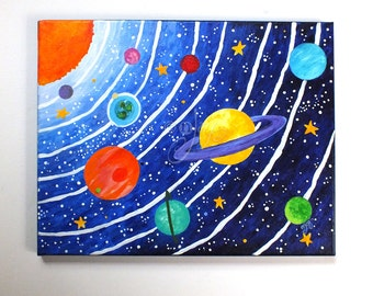 CUSTOM art, Solar System, 16x12 acrylic canvas painting, space themed original art