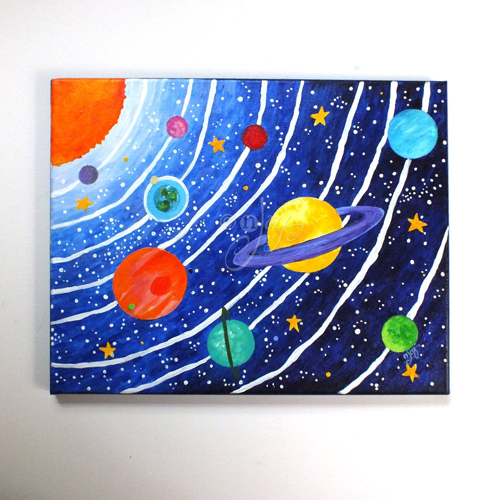 Custom art solar system 16x12 acrylic canvas painting space for How to make canvas painting