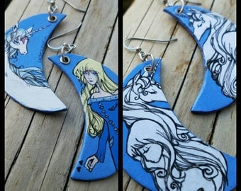 The Last Unicorn and Lady Amalthea hand-painted crescent moon earrings