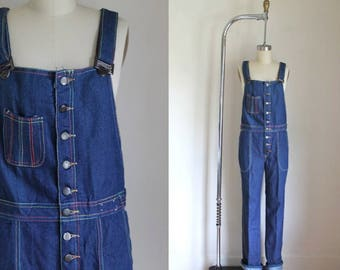 vintage 1970s denim overalls - FREDERICK's of HOLLYWOOD rainbow stiched jumpsuit / S-M