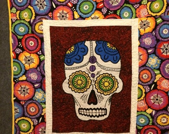Sugar Skull Throw Quilt ready to ship