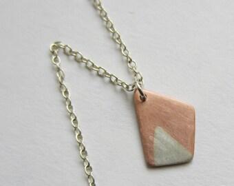 On Sale Asymmetric Pendant silver copper modern geometric shape artisan handmade