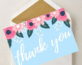 Printable Card - Thank You Card, Greeting Card, Instant Download, Thanks, Appreciation Card, Graduation Card, Bridal Shower Card, Note Cards