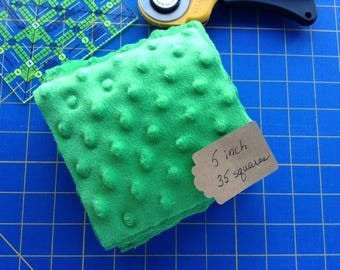 GREEN MINKY DOT fabric squares, 5 inch Kelly Green Squares, Quilting Squares, Craft Squares, 35 Squares, Rag Quilt Squares, Spring Green