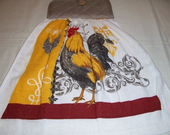 Oven Door Hanging Towel -Rooster-Kitchen Towel ,Potholder-Ready To Ship