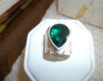 big bold sterling silver ring ,,,,,,,,,,,tourmaline,
