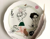 Antique plate with lady Josephine and Mimi (Toi & Moi) #1667